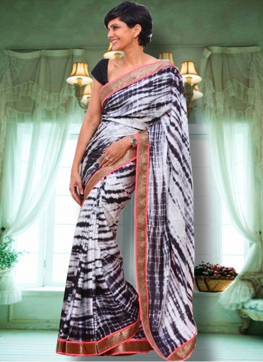 Mandira Bedi White & Black Weightless Georgette Designer Saree