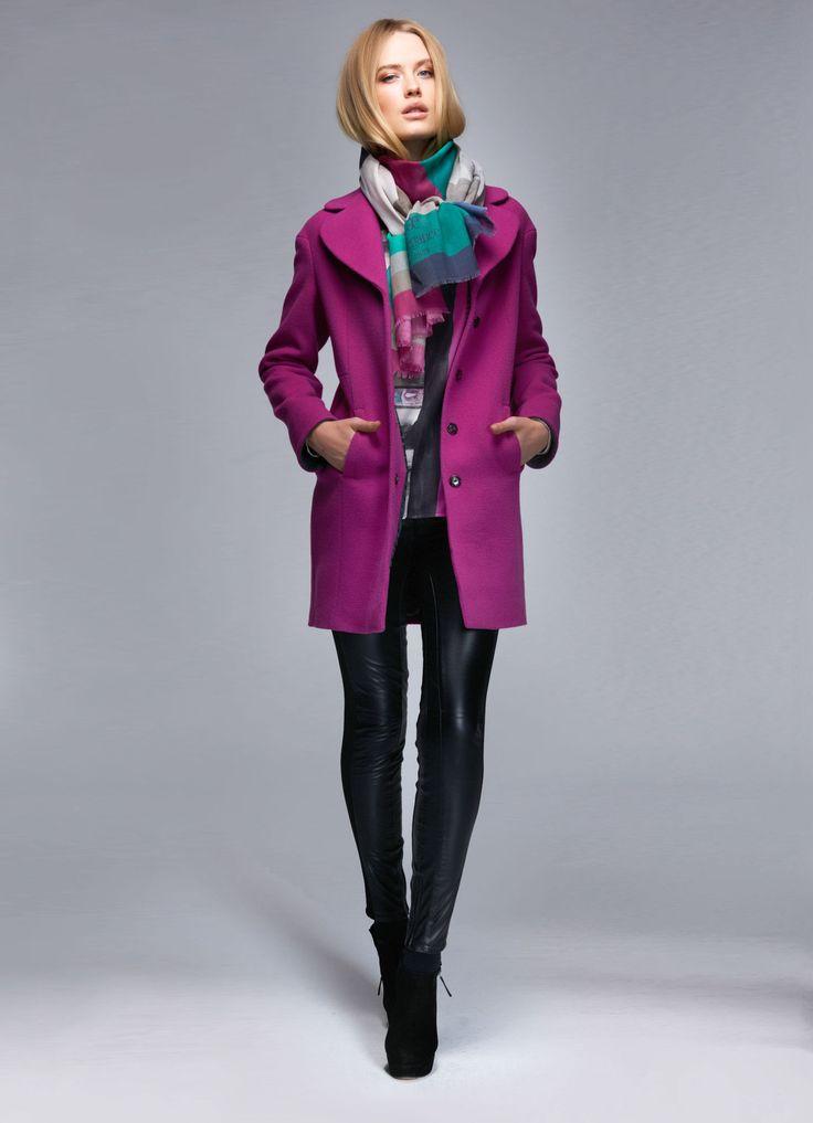 manteau en laine el gance fuchsia gris boutique elegance paris pinterest manteau en laine. Black Bedroom Furniture Sets. Home Design Ideas