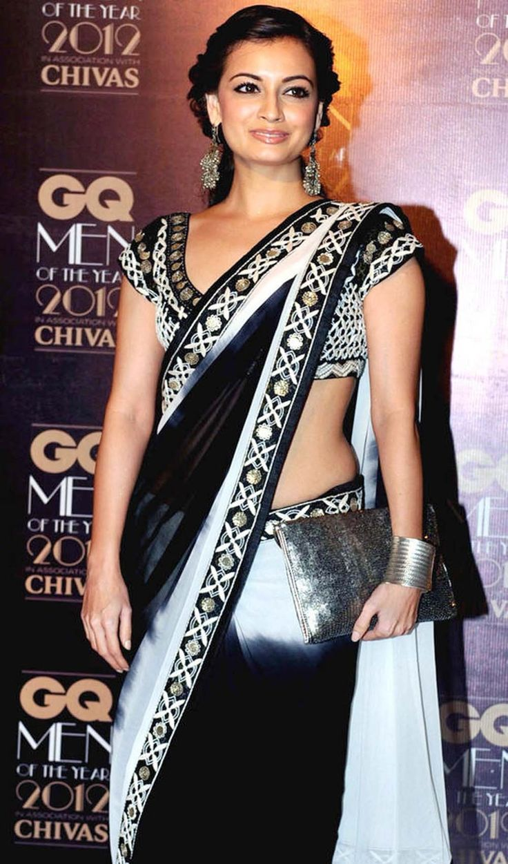 Bollywood saree collection, popular designs and patterns only on @fashion4style. Diya mirza Bollywood Saree, Georgetown shaded with heavy Blouse shop now ☛ hhttp://www.fashion4style.com/woman/clothing/bollywood-replica-saree/diya-mirza-bollywood-saree/pid=MTM5