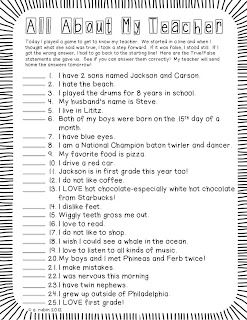 "Fun ""get to know me"" activity for the first few days of school"