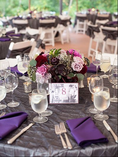 silver and purple table setting