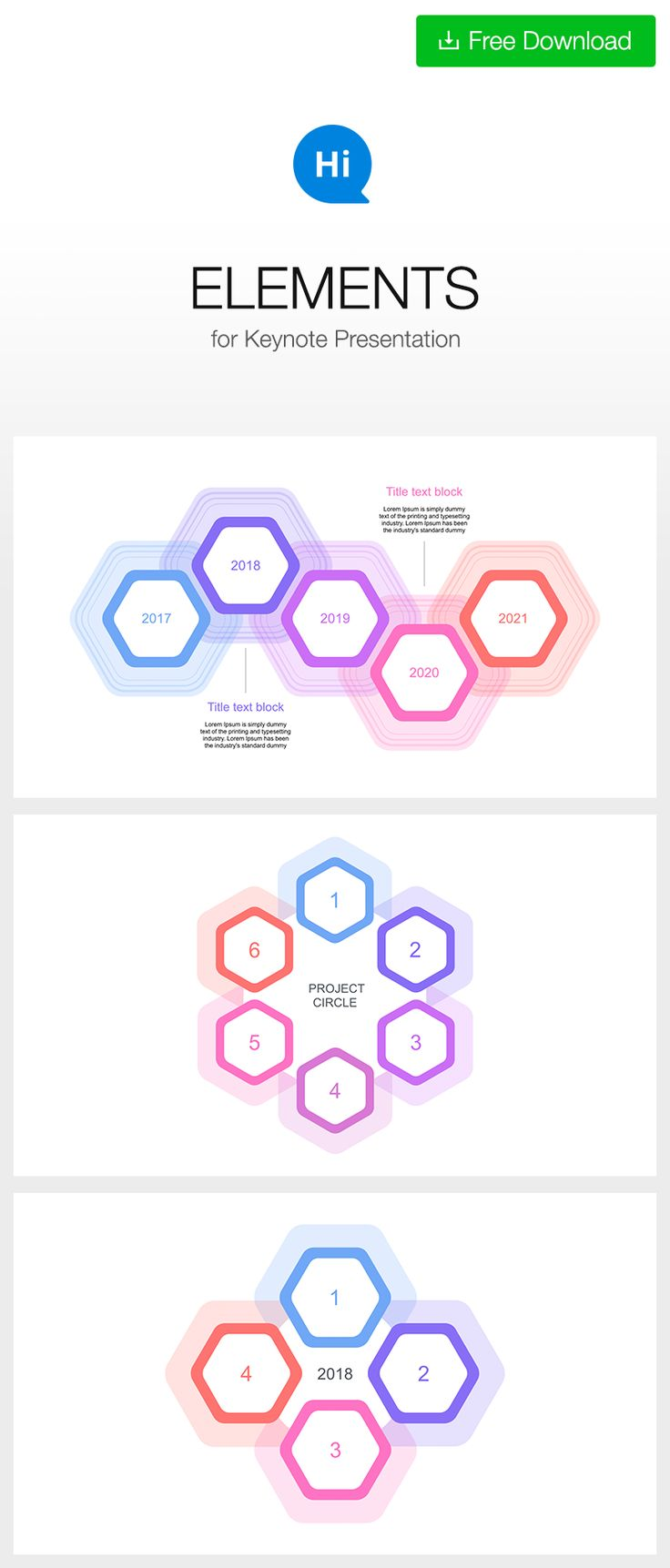 #timeline and #circular #template #free DOWNLOAD https://hislide.io/product/easy-edit-5-year-timeline-key/ #polygon #hexagon