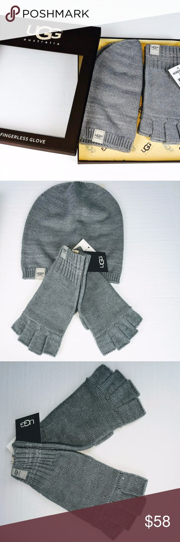 Ugg Australia Hat Open Finger Gloves Box Set Gray Ugg Hat and Open Finger Gloves Gift Set  Boxed Set  Womans One Size  Gray Hat and Gloves  33% Wool  32% Polyester  23% Acrylic  12 Nylon  RN17541  retail 135.00 UGG Accessories Gloves & Mittens