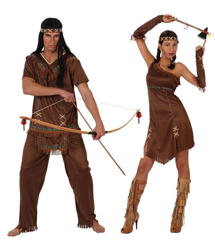 Costume coppia indiani marrone adulto: Costume indiano uomoQuesto travestimento da indiano pellerossa uomo è composto da pantaloni marrone elastici in vita, da una t-shirt da una fascia. Con piccolo grembiule bianco cucito in vita....