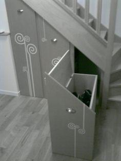 Des rangement sur roulettes - Le coffre: roller, sac, parapluie... - Vous avez aménagé le dessous de votre escalier