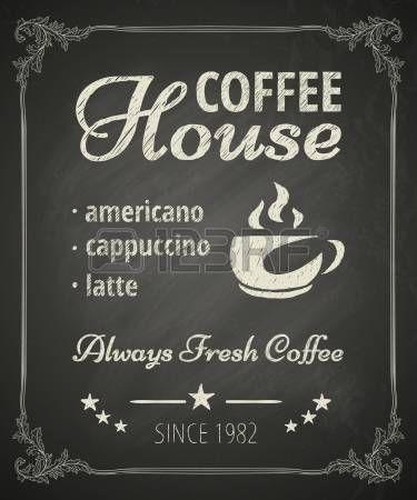 Кофейный плакат на доске.  Стилизованный рисунок мелом фото