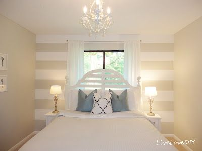 Striped Accent Wall -add lighter stripes than the paint color of your walls