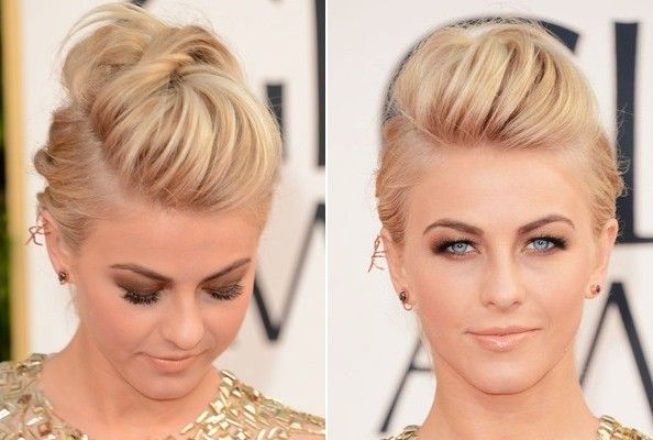 How to DIY Julianne Hough's Edgy Fauxhawk Do: 1) Tease the crown. 2) Twist back two sections from the teased crown, cross-pinning hair in place back and forth, left and right, to lock the look in place.  Another view:  http://img2.timeinc.net/instyle/images/2013/AWARDS/011313-hair-julianne-hough-400.jpg