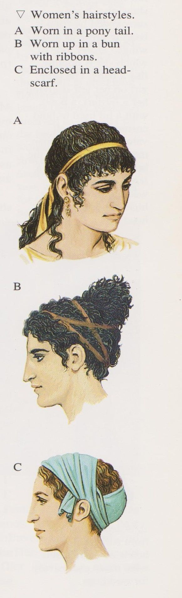 Ancient Athenian Women's Hairstyles (Peter Connolly/Greece/user: Aethon)