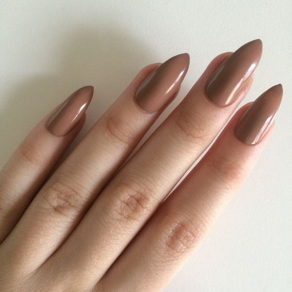 Gloss brown stiletto nails, hand painted acrylic nails, fake nails,... ($14) ❤ liked on Polyvore featuring beauty products, nail care and nail treatments