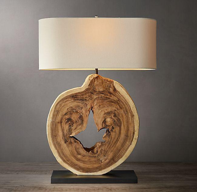 Weathered Wood Slice Table Lamp Table Lamp Wood Wood Slices Table Lamp
