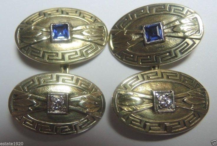 Antique Diamond Cufflinks Platinum 14K Bridal Mens Fine Jewelry Vintage Estate  #Handmade