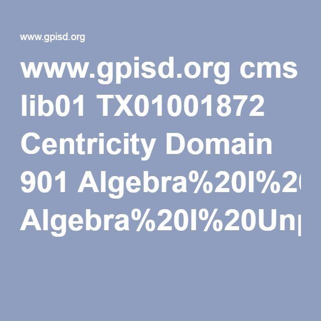 www.gpisd.org cms lib01 TX01001872 Centricity Domain 901 Algebra%20I%20Unpacked%20Content.pdf