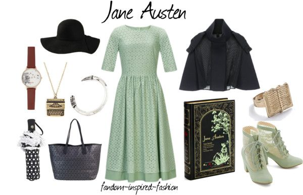 Fandom Inspired Fashion: Jane Austen Inspired Outfit. This feminine outfit is inspired by the classic books by author Jane Austen. I went for a vintage style to match the Victorian clothing. #Mint #green dress, black purse and umbrella have a matching circular pattern. Black #cape, hat and green #booties. Jewelry includes a typewriter necklace, pencil bracelet, book ring and watch with dandelion #illustration. Beautiful edition of her complete works with the same color scheme was my…