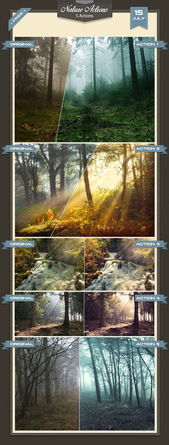 5 Free Nature Photoshop Actions * Easy to use. * The Real and the best effects…