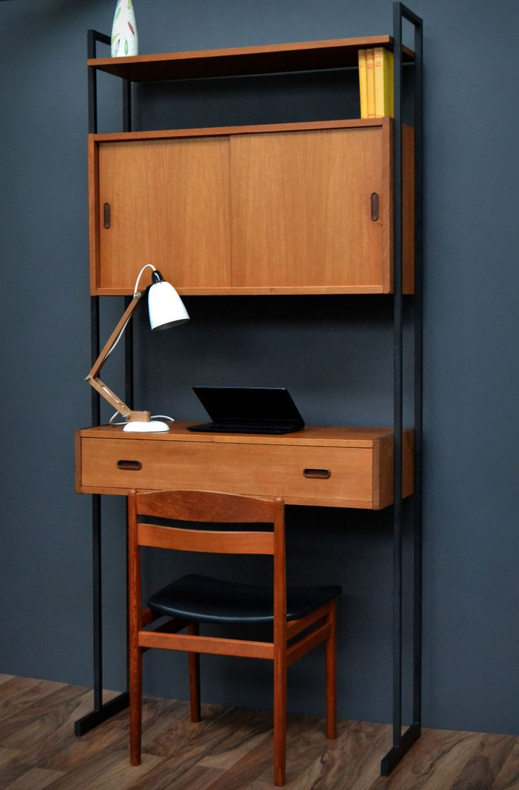 Vintage Retro Mid Century Teak Shelving Bookcase Desk - Interflex Ladderax in Antiques, Antique Furniture, Cabinets, 20th Century   eBay