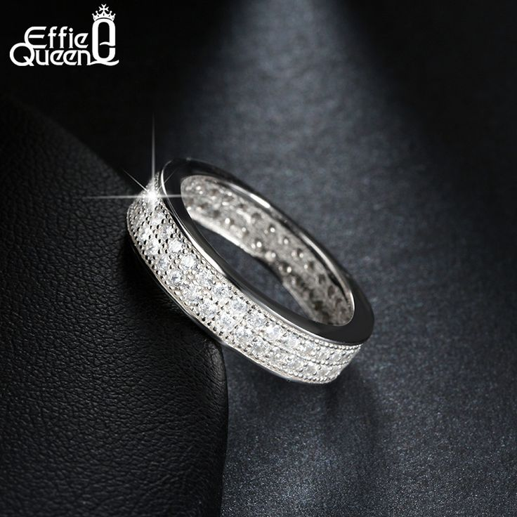 Effie Queen White Gold Plated Eternity Ring CZ Diamond Zircon Pave Setting Fashion Anniversary Jewelry Ring for Women DAR063