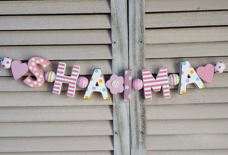 """SHAIMA"" WOODEN LETTERS BABY SHOWER NURSERY DECOR PERSONALIZED NAME SHABBY CHIC  #NostalgieSpiel"