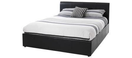 #Tuscany 6ft Super Kingsize Black Faux Leather #Ottoman #Bed Frame