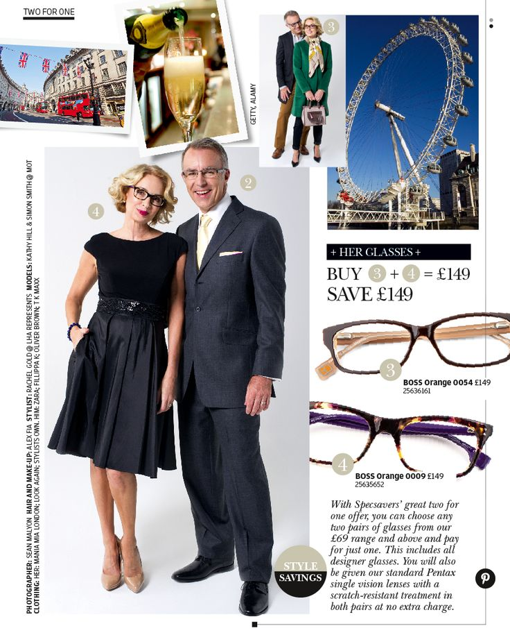 Two looks for one weekend away - glasses available at Specsavers.