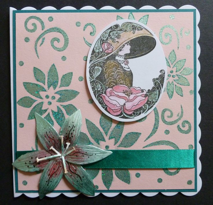 'A Little Elegance' card. - Imagination Craft's - Jade & White gold Starlight paints.  Vineyard Sparkle Medium.  Metal spatula.  Lily flourishes stencil.  Coral reef Alchemy wax.  Stencil brush.  Elusive Images wooden backed stamp Crafter's Companion Lily die set.  Black ink pad.  June 2017.  Designed by Jennifer Johnston.