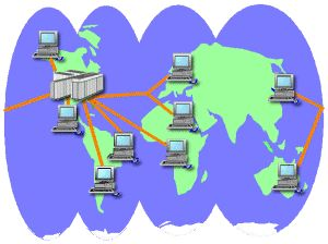 WIDE AREA NETWORK (WAN)- Network that covers a large geographical area (such as city, country, or the world) using a communication channel that combines many types of media such as telephone lines, cables, and radio waves.