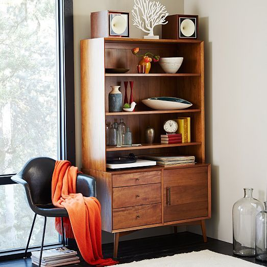 Mid century media tower wide acorn west elm for for Acorn kitchen cabinets