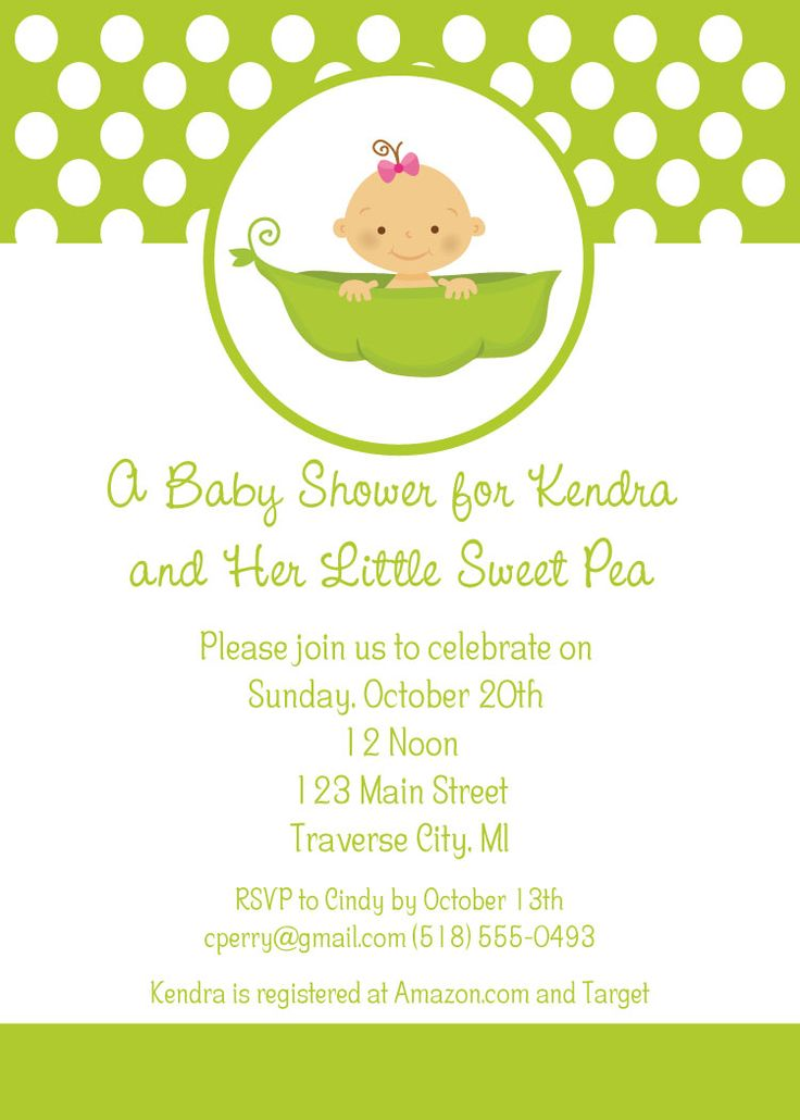 High Quality Little Sweet Pea Baby Shower Invitations