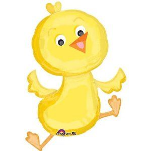 """Jumping Cute Yellow Baby Chick 34"""" Balloon Mylar by Anagram. $5.96. Balloon is double sided. Size: 34"""". Design: A yellow jumping baby chick.. Packaged 23"""" X 34"""""""