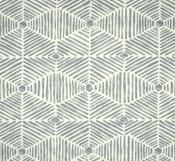 Chambray Blue Tribal Thatch Home Decor Fabric By The Yard Designer Drapery  Or Upholstery Fabric Neutral