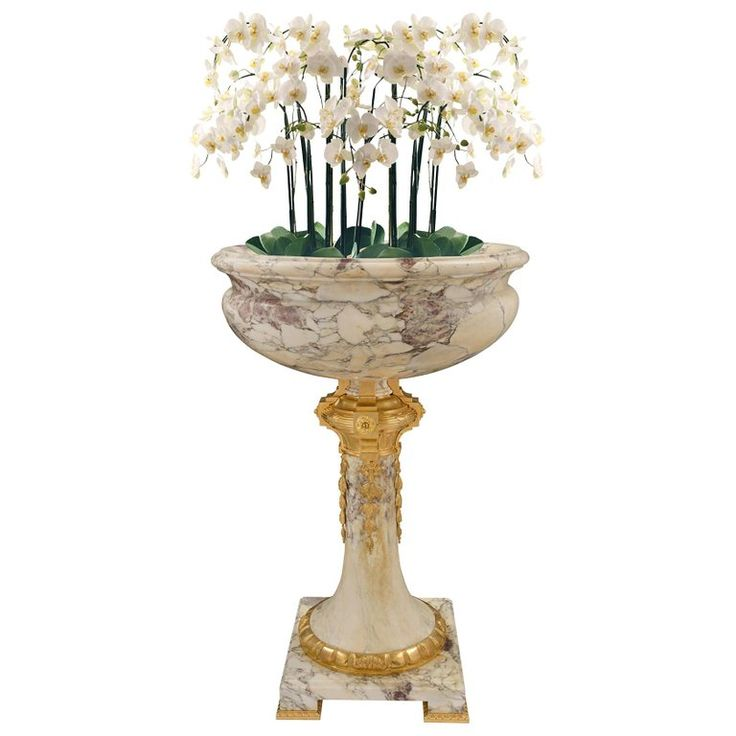 French 19th Century Louis Xvi St. Fleur De Pêcher Marble And Ormolu Planter