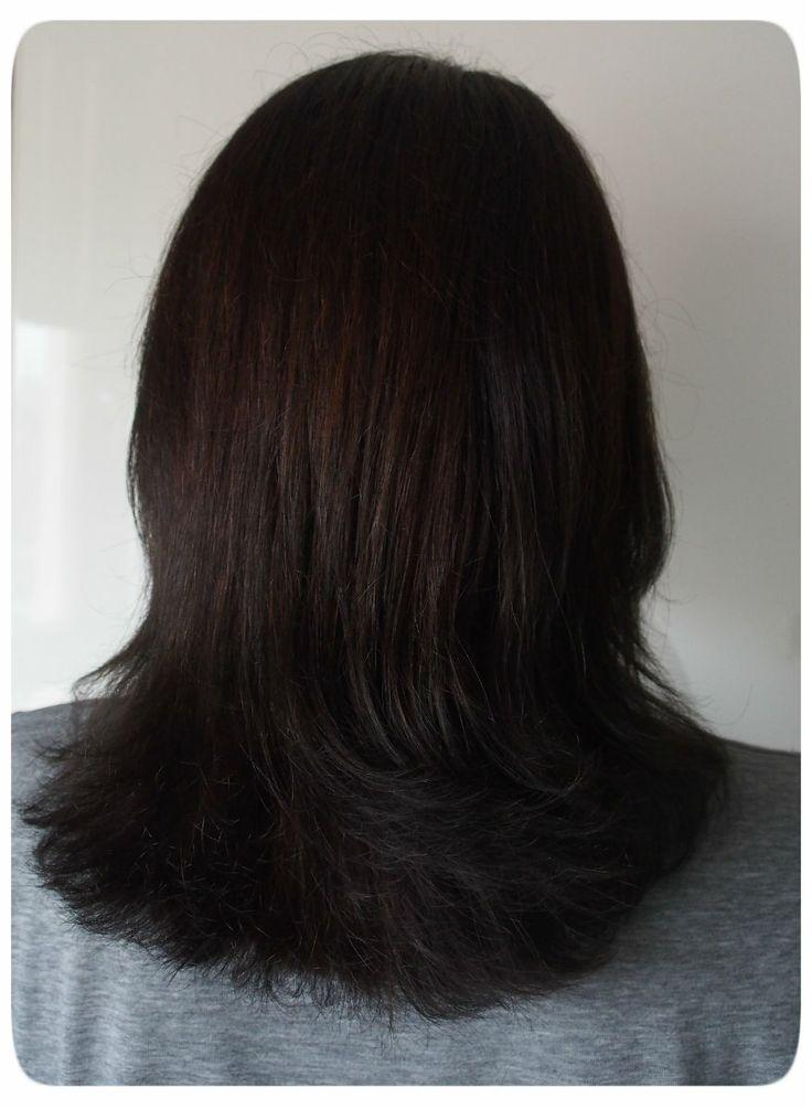 Dark brown henna on black hair