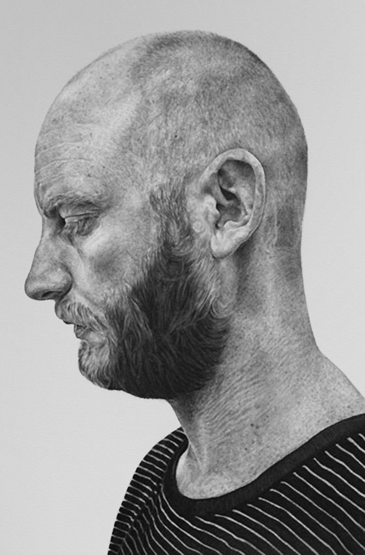 Alan Coulson (b. 1977), bearded male head profile man face portrait realism monochrome mixed media drawing. alancoulson.com