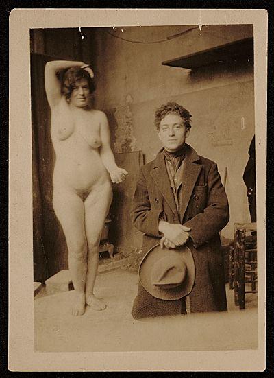 Alberto Giacometti and Rodin's Model Carmen (1922.) by Marion Walton (1899-1996) / Giacometti at the Académie de la Grande Chaumière, Paris, France.    Archives of American Art, Smithsonian Institution