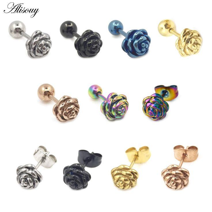 2pcs rose flower 316l stainless steel men women pierced ear stud earrings simple cute earrings party jewelry oorbellen  – Products