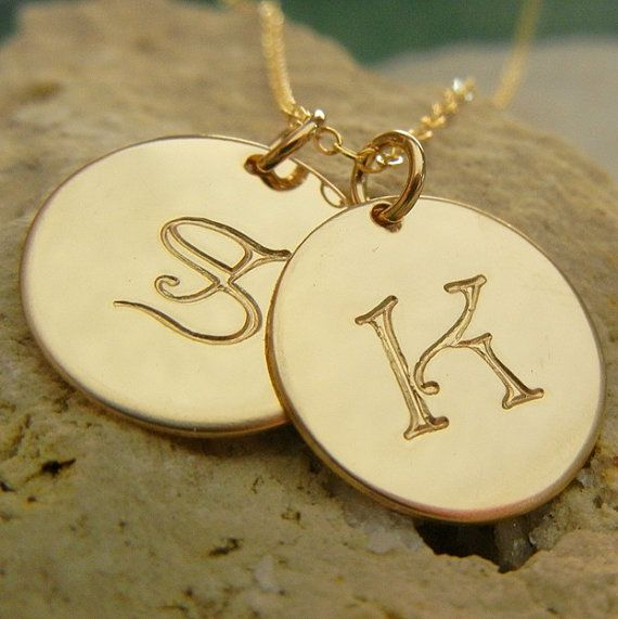 """This font is called """"storybook"""" Gold Initial Necklace Letter Charms GoldFilled by ERiaDesigns, $64.00"""