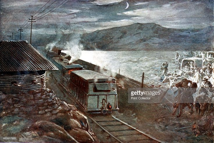 Boer War, 1899-1902. Boer commander Christiaan Rudolf de Wet attempting to lead a column across a railway at night past an armoured train and blockhouse. De Wet (1854-1922) commanded the army of the Orange Free State during the war.