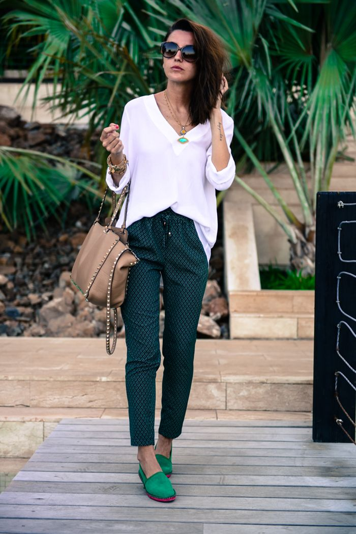 pants: Suiteblanco (s/s 14) shirt: Zara (s/s 14) bag: Valentino espadrilles: Zara (s/s 14) bracelets: Alex and Ani (s/s 14) sunglasses: Emporio Armani + Mo Multiópticas bikini: Oysho (s/s 14) necklace: Mawi