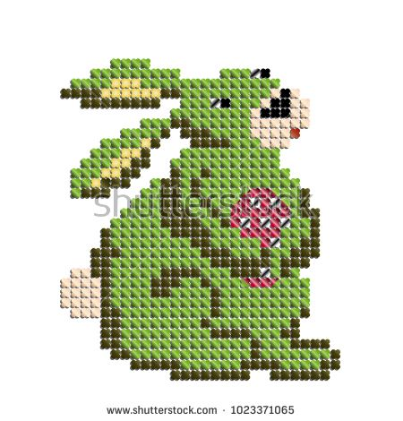 cross stitch imitation. Bunny is holding a patchy Easter egg.
