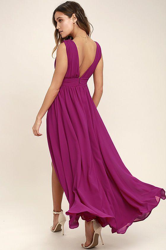 Magenta Gown - Maxi Dress - Sleeveless Maxi Dress - $84.00