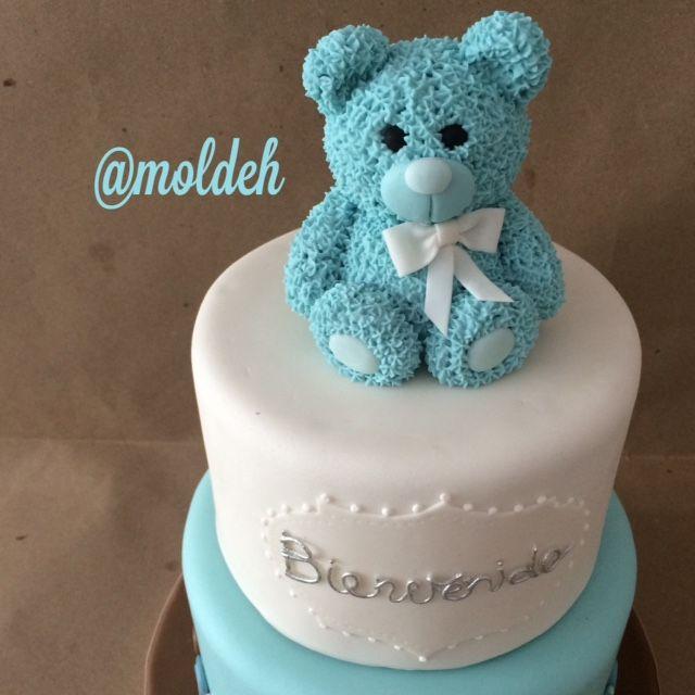 Pastel de osito para Shower de bebé niño // Baby boy bear shower  cake