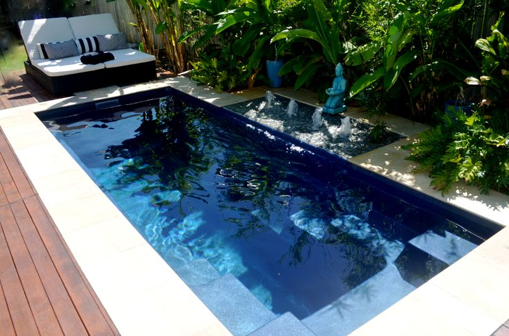 Narellan Pools Eden Pool in Blue Azurite. Perfect plunge pool for your backyard! #NarellanPoolsInspiration