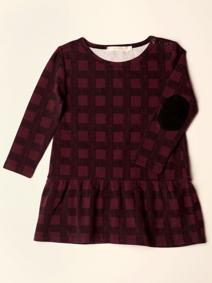 Mad About Mini W15: Herringbone check dropped waist dress in wine/black. Available www.madaboutmini.com