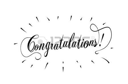 Congratulations lettering with sunburst on white background. Vector congratulations word calligraphy card. Illustration