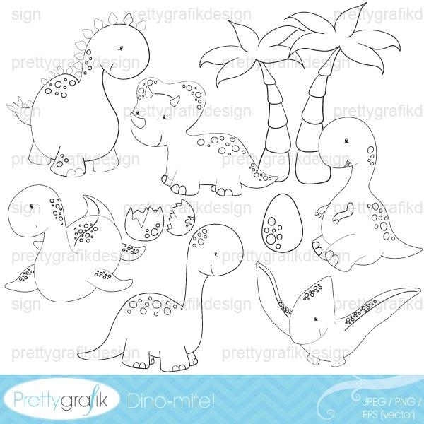 dinosaur digital stamp commercial use - PGDSPK452 #prettygrafik