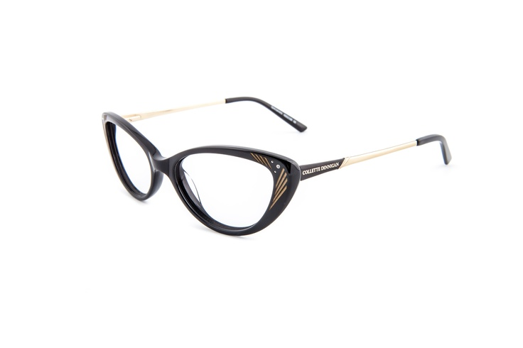 Decadence - 25634136. Two pairs from only $439, including standard single vision PENTAX lenses.    Vintage inspired statement frame, combining 20's art deco detailing on the front and arm with a 50's style cats eye shape. Colours of jet black and distinct gold detailing gives it a stylish, trendy edge – suited for any age but the daring wearer. The Collette Dinnigan brandmark is printed in gold on the delicate decorated arms.