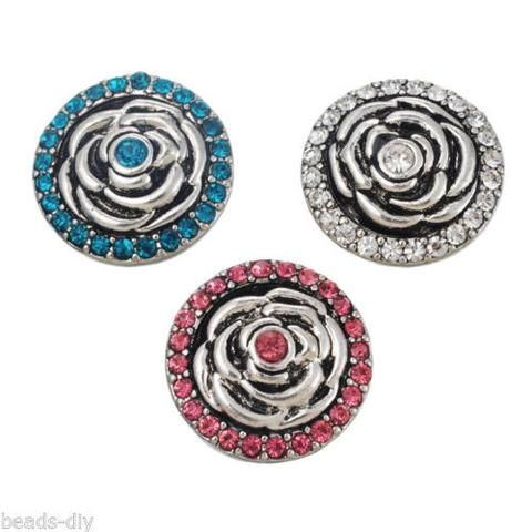 3 PCs BD Silver Tone Mixed Round Rhinestone Rose Flower Snap Button Click 2cm