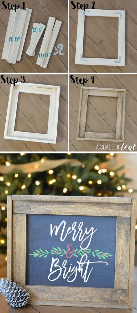 Christmas Mantle Update, How to make a Rustic Wood Frame | A Shade Of Teal