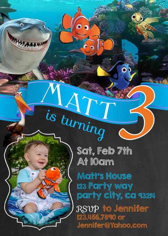 Finding Nemo birthday invitation invite by GreyhoundGraphics