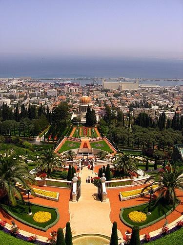 Well known gardens in Haifa, Israel.